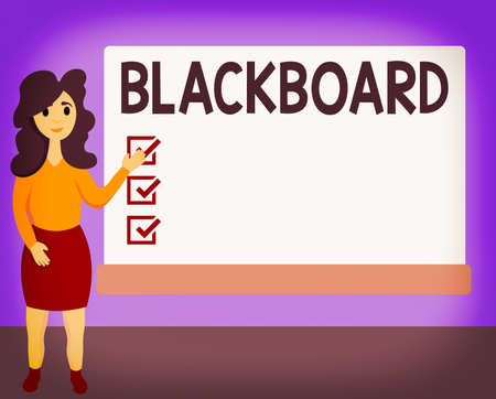 Word writing text Blackboard. Business photo showcasing hard smooth usually dark surface used especially in a classroom Female Hu analysis Standing Hand Presenting Rectangular Blank Whiteboard
