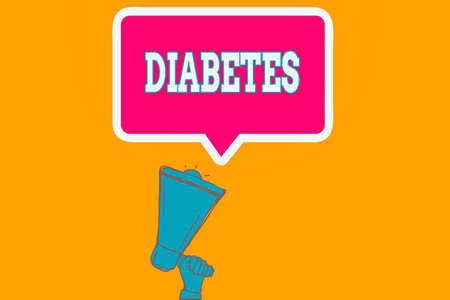 Writing note showing Diabetes. Business concept for any of various abnormal conditions characterized by excretion Hu analysis Hand Holding Upward Megaphone Speech Bubble Banque d'images