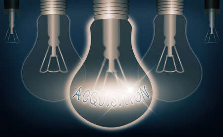 Writing note showing Acquisition. Business concept for asset or object bought or obtained, typically by a library Realistic colored vintage light bulbs, idea sign solution