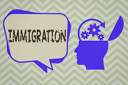 Word writing text Immigration. Business photo showcasing the action of coming to live permanently in a foreign country Hu analysis Head Silhouette Topside Open with Gears and Blank Halftone Bubble