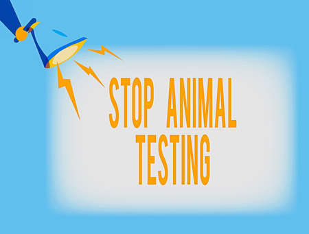 Conceptual hand writing showing Stop Animal Testing. Concept meaning put an end on animal experimentation or research Hu analysis Holding Megaphone with Lightning Sound Effect