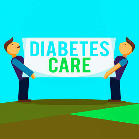 Conceptual hand writing showing Diabetes Care. Concept meaning prevent or treat complication that can result from the disease Two Men Carrying Rectangular Blank Panel Board on Both Sides