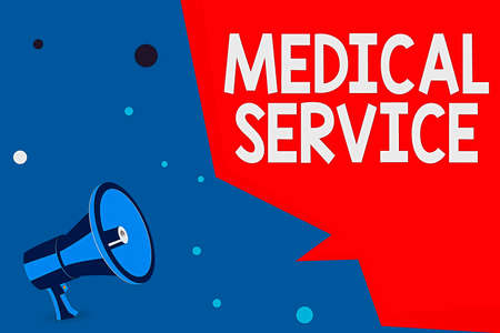 Word writing text Medical Service. Business photo showcasing care and treatment provided by a licensed medical provider Megaphone Loudspeaker and Blank Geometric shape Half Speech Bubble
