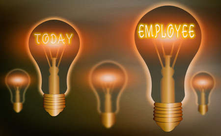 Conceptual hand writing showing Employee. Concept meaning one employed by another usually for wages or salary below the executive Realistic colored vintage light bulbs, idea sign solution