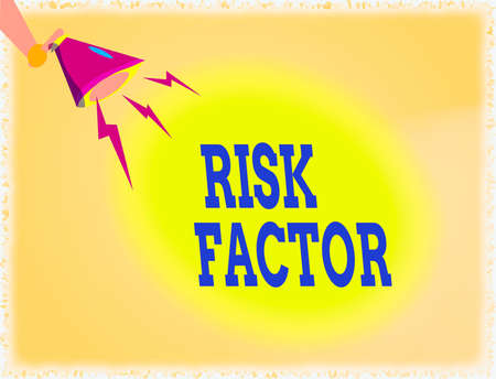 Word writing text Risk Factor. Business photo showcasing Characteristic that may increase the percentage of acquiring a disease Hu analysis Hand Holding Megaphone Downward with Lightning Sound Effect Icon