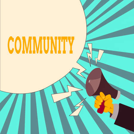 Writing note showing Community. Business concept for group of showing with a common characteristics living together Male Hu analysis Hand Holding Megaphone Blank Speech Bubble Banco de Imagens