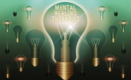 Text sign showing Mental Healing Therapist. Business photo text helping an individual express emotions in healthy ways Realistic colored vintage light bulbs, idea sign solution thinking concept