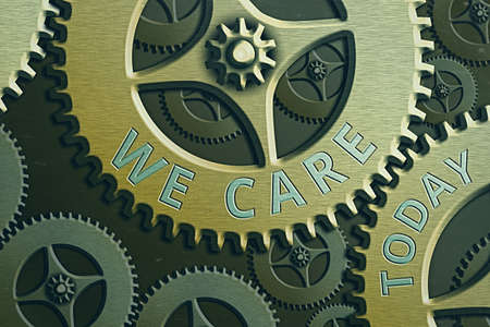Text sign showing We Care. Business photo showcasing Cherishing someones life Giving care and providing their needs System Administrator Control, Gear Configuration Settings Tools Concept