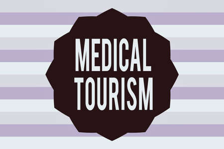Text sign showing Medical Tourism. Business photo showcasing traveling to another country seeking for medical care Twelve 12 Pointed Star shape Dodecagon in Solid Color Zigzag effect Polygon Stock Photo