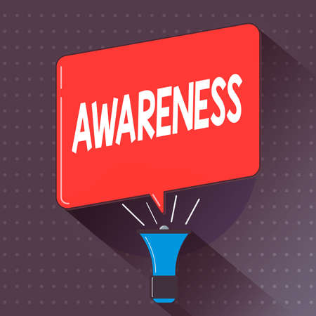 Text sign showing Awareness. Business photo text quality or state of being aware of knowledge and understanding Megaphone Make Voice Louder Handheld Amplifier and Blank Speech Bubble