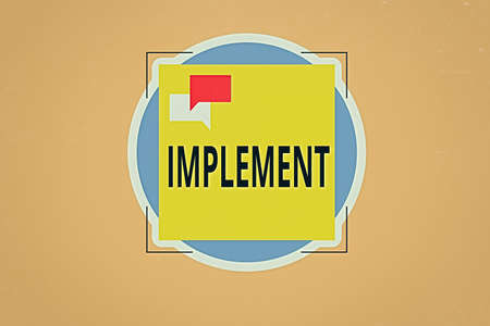 Writing note showing Implement. Business concept for to provide instruments or means of expression for something Two Speech Bubble Overlapping on Square Shape above a Circle
