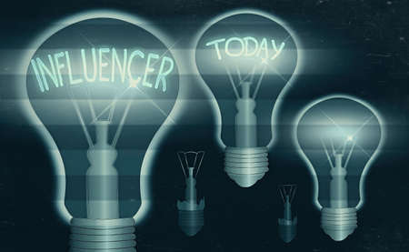Text sign showing Influencer. Business photo text the an individual who inspires or guides the actions of others Realistic colored vintage light bulbs, idea sign solution thinking concept