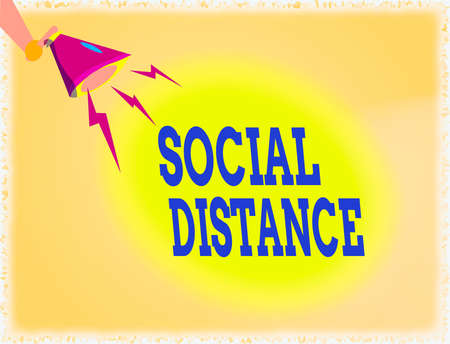 Word writing text Social Distance. Business photo showcasing maintaining a high interval physical distance for public health safety Hu analysis Hand Holding Megaphone Downward with Lightning Sound Effect Icon