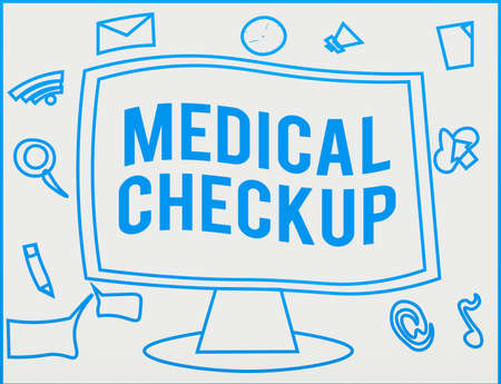 Handwriting text writing Medical Checkup. Conceptual photo the examination carried out to determine the physical fitness Web Application Software icons Surrounding Blank Mounted Computer Monitor