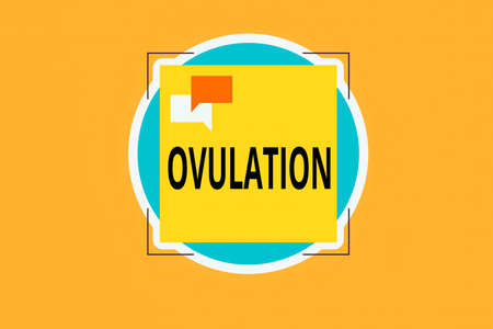 Writing note showing Ovulation. Business concept for the discharge of a mature ovum from the ovary for impregnation Two Speech Bubble Overlapping on Square Shape above a Circle Stockfoto