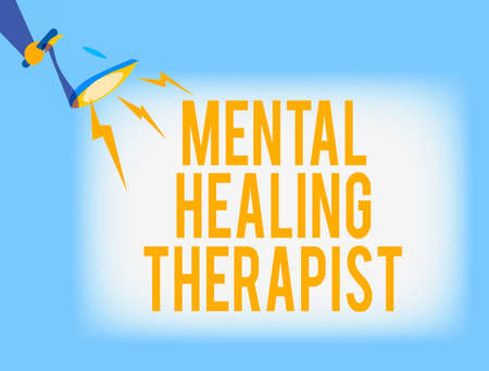 Conceptual hand writing showing Mental Healing Therapist. Concept meaning helping an individual express emotions in healthy ways Hu analysis Holding Megaphone with Lightning Sound Effect