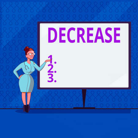 Handwriting text writing Decrease. Conceptual photo the process of growing progressively less in size, amount, etc. Female Doctor with Stethoscope Standing Hand Presenting Blank Whiteboard