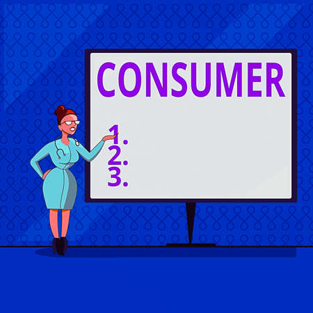 Handwriting text writing Consumer. Conceptual photo one that utilizes economic goods that are sold by manufacturers Female Doctor with Stethoscope Standing Hand Presenting Blank Whiteboard
