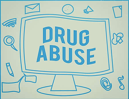 Handwriting text writing Drug Abuse. Conceptual photo the habitual taking of use of prescription or illegal drugs Web Application Software icons Surrounding Blank Mounted Computer Monitor