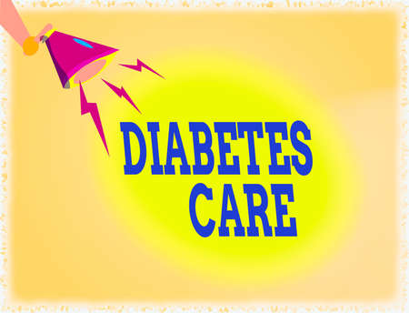 Word writing text Diabetes Care. Business photo showcasing prevent or treat complication that can result from the disease Hu analysis Hand Holding Megaphone Downward with Lightning Sound Effect Icon