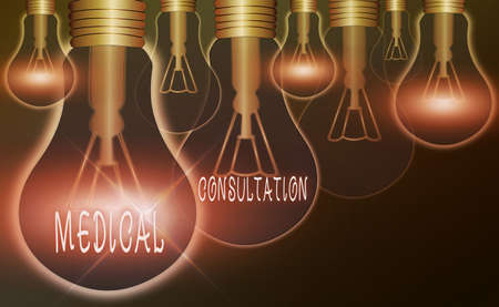Text sign showing Medical Consultation. Business photo text act of seeking assistance from another physician Realistic colored vintage light bulbs, idea sign solution thinking concept