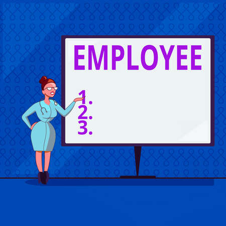 Handwriting text writing Employee. Conceptual photo one employed by another usually for wages or salary below the executive Female Doctor with Stethoscope Standing Hand Presenting Blank Whiteboard