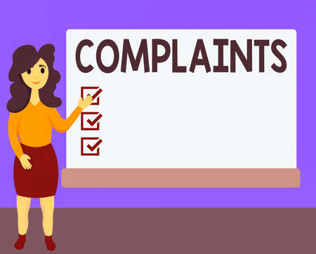Word writing text Complaints. Business photo showcasing something that is the cause or subject of protest or outcry Female Hu analysis Standing Hand Presenting Rectangular Blank Whiteboard