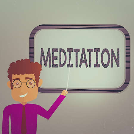 Writing note showing Meditation. Business concept for the discourse intended to express its author s is reflections Man Standing Holding Stick Pointing to Wall Mounted Blank Color Board