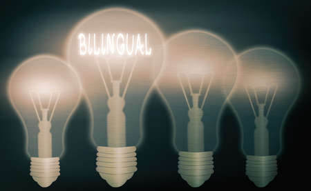 Text sign showing Bilingual. Business photo text using or able to use two languages especially with equal fluency Realistic colored vintage light bulbs, idea sign solution thinking concept
