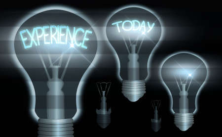 Text sign showing Experience. Business photo text something an individualally encountered, undergone, or lived through Realistic colored vintage light bulbs, idea sign solution thinking concept