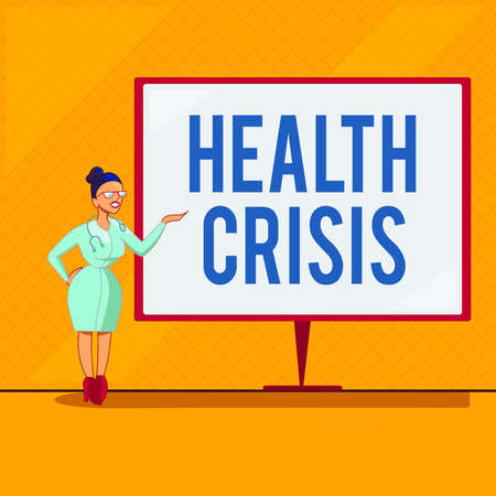 Handwriting text Health Crisis. Conceptual photo fitness problem that affects in more geographic areas Female Doctor with Stethoscope Standing Hand Presenting Blank Whiteboard