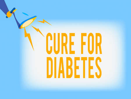 Conceptual hand writing showing Cure For Diabetes. Concept meaning looking for medication through insulindependent Hu analysis Holding Megaphone with Lightning Sound Effect Banque d'images