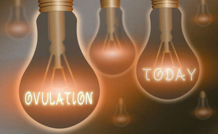 Handwriting text writing Ovulation. Conceptual photo the discharge of a mature ovum from the ovary for impregnation Realistic colored vintage light bulbs, idea sign solution thinking concept Banque d'images