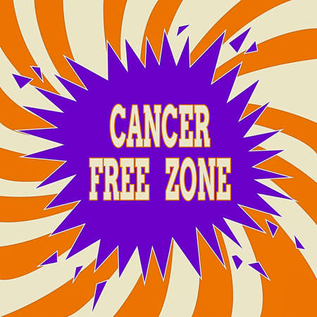 Handwriting text Cancer Free Zone. Conceptual photo supporting cancer patients and raising awareness of cancer Blank Exploding Cracking Breaking Speech Bubble Sound Effect on Burst