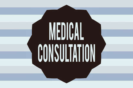 Text sign showing Medical Consultation. Business photo showcasing act of seeking assistance from another physician Twelve 12 Pointed Star shape Dodecagon in Solid Color Zigzag effect Polygon