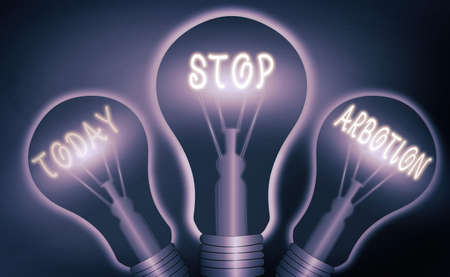 Text sign showing Stop Arbotion. Business photo text advocating against the practice of abortion Prolife movement Realistic colored vintage light bulbs, idea sign solution thinking concept Banque d'images