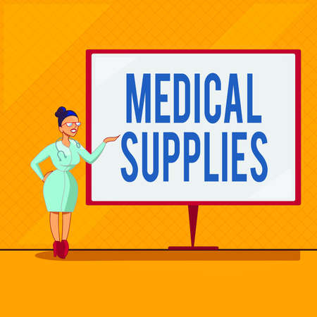 Handwriting text Medical Supplies. Conceptual photo Items necessary for treatment of illness or injury Female Doctor with Stethoscope Standing Hand Presenting Blank Whiteboard Banque d'images