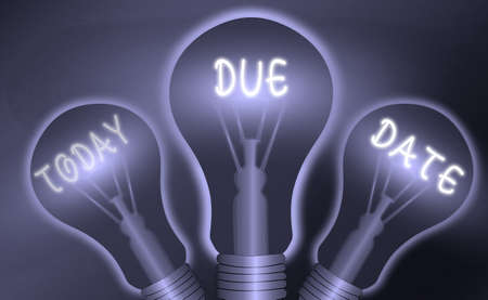 Text sign showing Due Date. Business photo text the day or date by which something is supposed to be done or paid Realistic colored vintage light bulbs, idea sign solution thinking concept