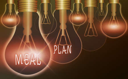 Text sign showing Meal Plan. Business photo text act of taking time to plan any number of meals for the week Realistic colored vintage light bulbs, idea sign solution thinking concept