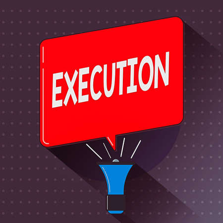 Text sign showing Execution. Business photo text the carrying out or putting effect of plan, or course of action Megaphone Make Voice Louder Handheld Amplifier and Blank Speech Bubble Banque d'images