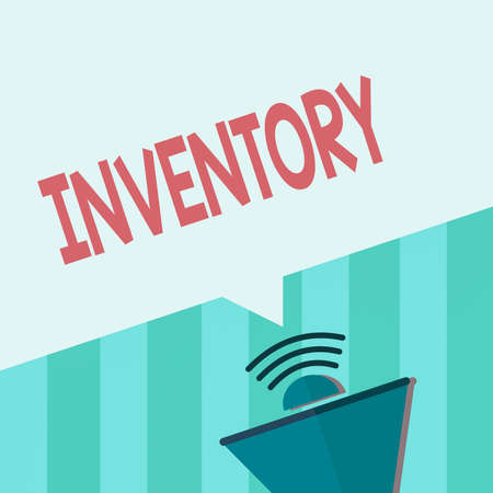 Word writing text Inventory. Business photo showcasing list of traits, preferences, attitudes, interests, or abilities Megaphone Halftone with Sound icon and Blank Geometric Speech Bubble