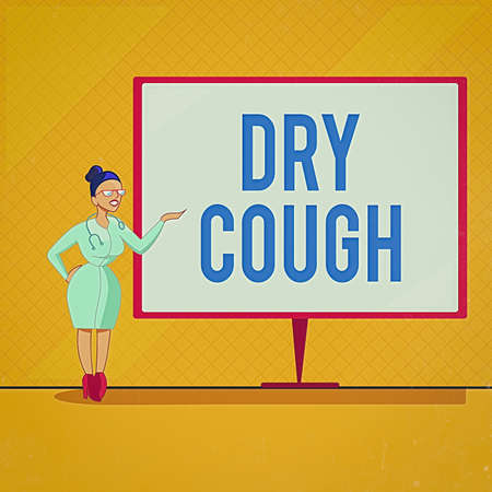 Handwriting text Dry Cough. Conceptual photo cough that are not accompanied by phlegm production or mucus Female Doctor with Stethoscope Standing Hand Presenting Blank Whiteboard Banque d'images