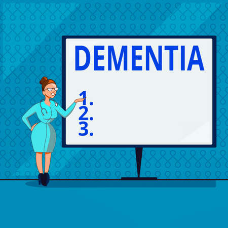Handwriting text writing Dementia. Conceptual photo usually, a progressive condition marked by multiple deficits Female Doctor with Stethoscope Standing Hand Presenting Blank Whiteboard Banque d'images