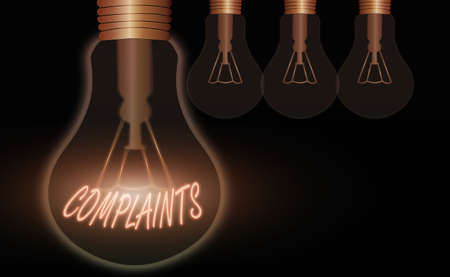 Conceptual hand writing showing Complaints. Concept meaning something that is the cause or subject of protest or outcry Realistic colored vintage light bulbs, idea sign solution