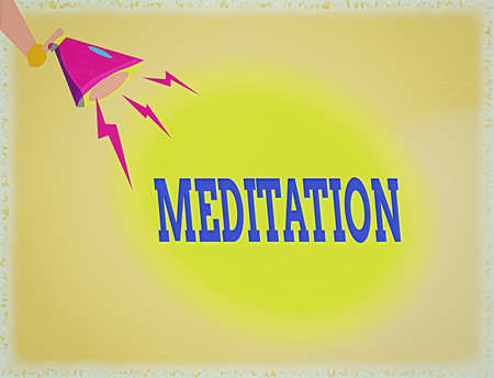 Word writing text Meditation. Business photo showcasing achieve a mentally clear and emotionally calm and stable state Hu analysis Hand Holding Megaphone Downward with Lightning Sound Effect Icon
