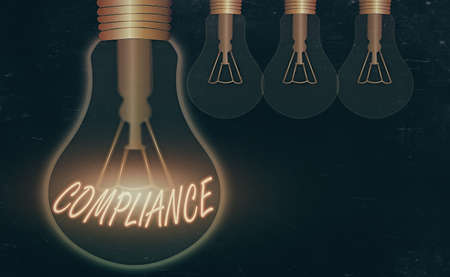 Conceptual hand writing showing Compliance. Concept meaning ability of an object to yield elastically when a force is applied Realistic colored vintage light bulbs, idea sign solution