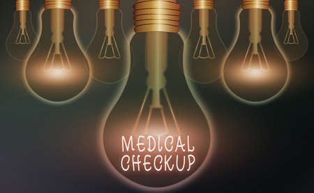 Word writing text Medical Checkup. Business photo showcasing the examination carried out to determine the physical fitness Realistic colored vintage light bulbs, idea sign solution thinking concept