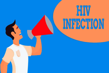 Word writing text Hiv Infection. Business photo showcasing A disease of the immune system due to the infection of HIV Man in Shirt Standing Talking Holding a Megaphone Male Calling Out onto