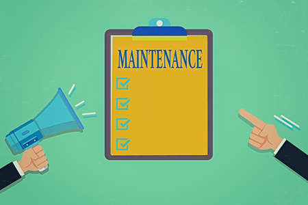 Writing note showing Maintenance. Business concept for the process of maintaining or preserving someone or something Hu analysis Hands Holding Megaphone Pointing Blank Clipboard Banque d'images