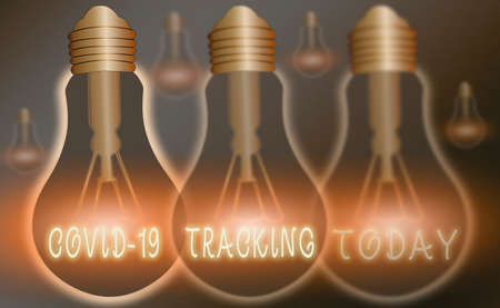 Conceptual hand writing showing Covid 19 Tracking. Concept meaning Distinguishing process of the possible infected individuals Realistic colored vintage light bulbs, idea sign solution